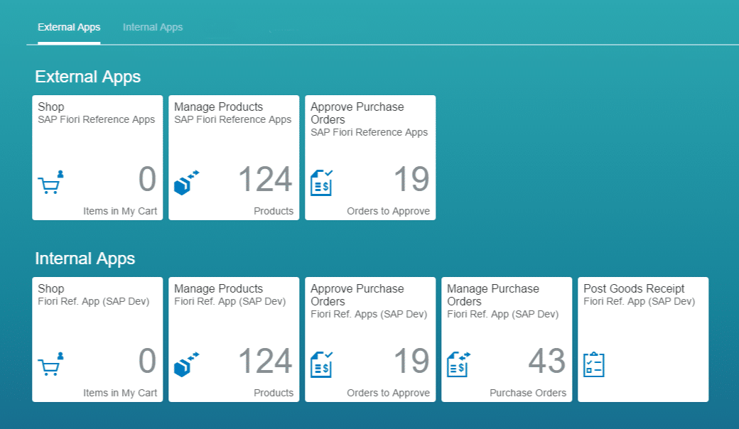Screenshot de la solución SAP Fiori Launchpad