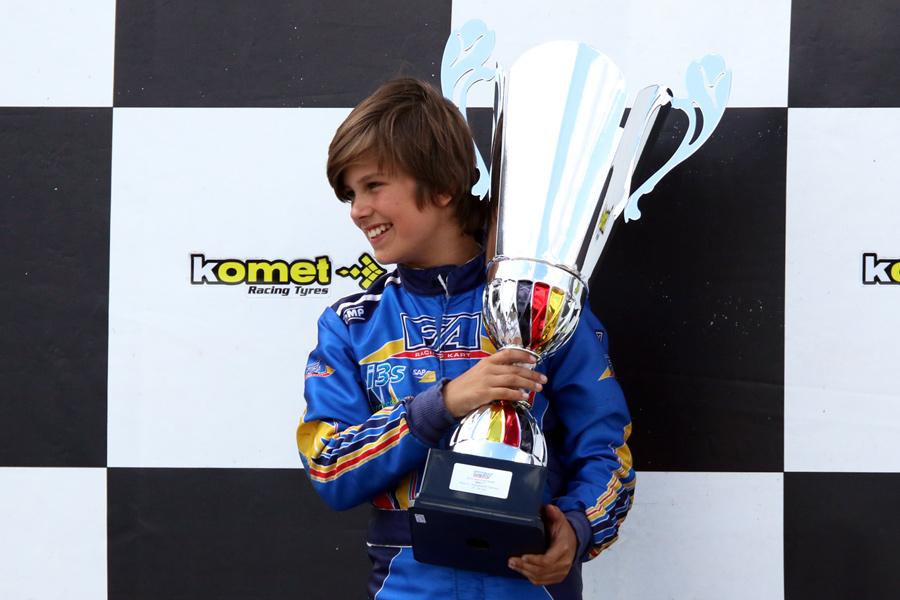 Miguel Peiró, primer puesto en la tercera ronda del campeonato europeo IAME Euro Series, en categoría mini, disputada el pasado fin de semana en el circuito de Wackersdorf, en Alemania